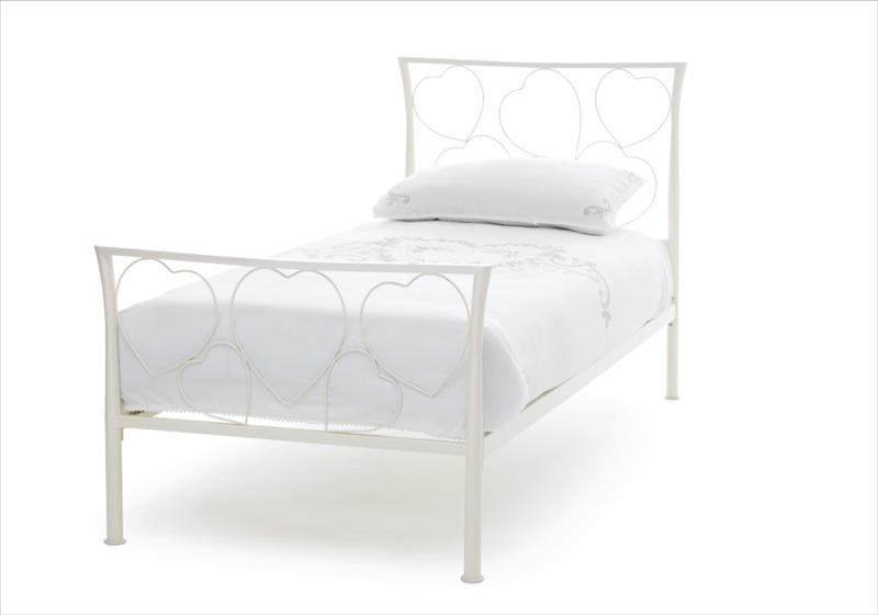 Serene Chloe Metal Bed Frame in Ivory Gloss £109